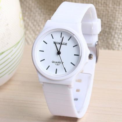 New Fashion Women's Dress Watch Silicone Strip Girls Wristwatch White
