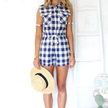 Gingham Print Playsuit