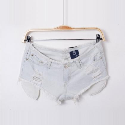 New Sexy Women's Hole Solid Denim S..