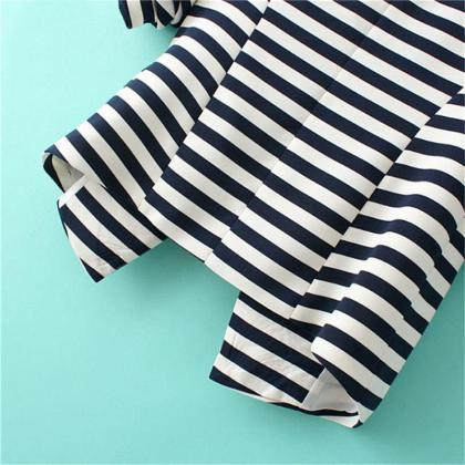 Fashion Women's Striped Black White..