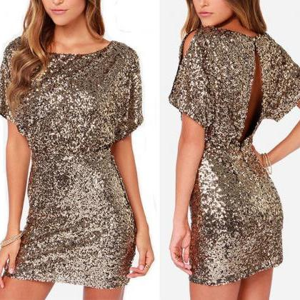 Fashion Women Short Sleeve Sequins Formal Evening Gown Party Cocktail Mini Dress