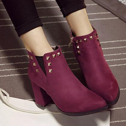 Spring Autumn Pointed Toe Zipper De..