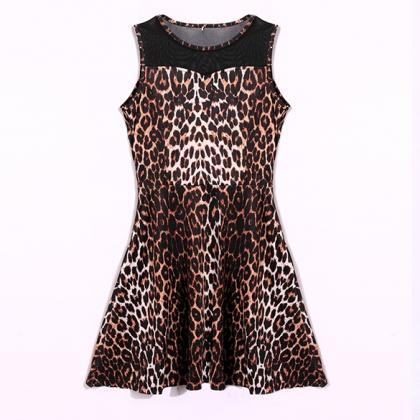 Stylish Lady Women Sexy Sleeveless Sundress Patchwork Leopard Casual Club Slim Above Knee Dress DL