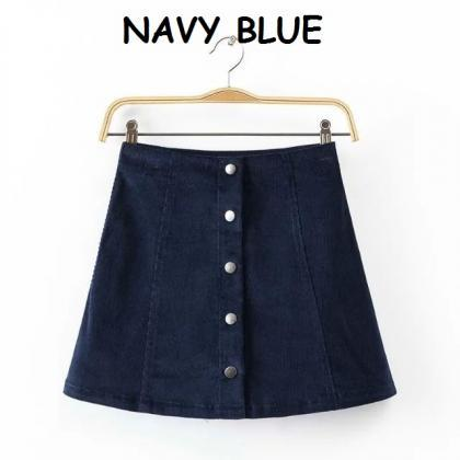 Button Front A-line Skirt