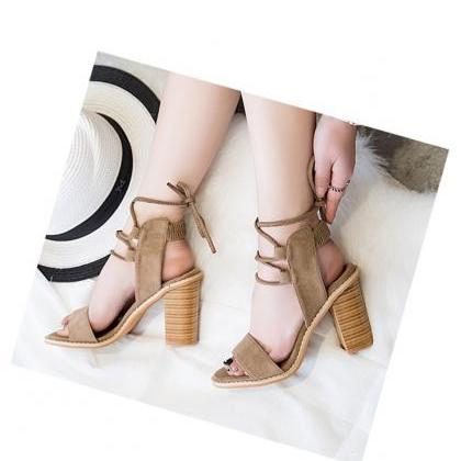 Brown Suede Lace-Up Sandals Featuri..