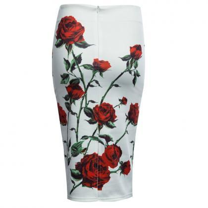 Rose Floral Print Pencil Skirt