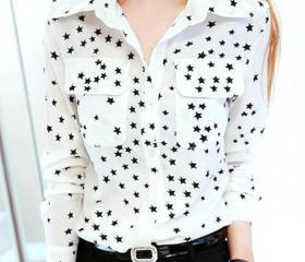 Fashion Women Star Pattern Long Sleeve Turn-down Collar Cotton Shirts Blouse New