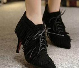Fashion Pointed Toe Tassel Design Lace-up Stiletto Super High Heel Black PU Ankle Martens Boots