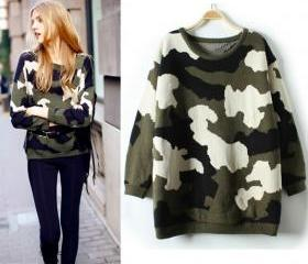 Women's Vintage Style Camouflage Thick Crew Neck Long Sleeve Pullover Loose Sweater Knitwear ND