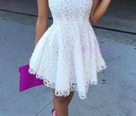 Lace Sleeveless White A Line Dress ROS