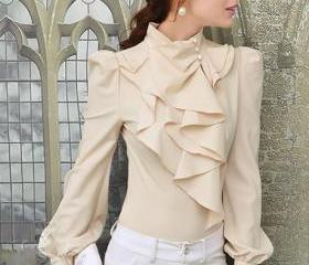 Mandarin Collar Puff Sleeve Frill Decorated Shirt ROS