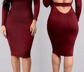 Sexy U Neck Long Sleeve Back Hollow-out Red Spandex Sheath Knee Length Dress