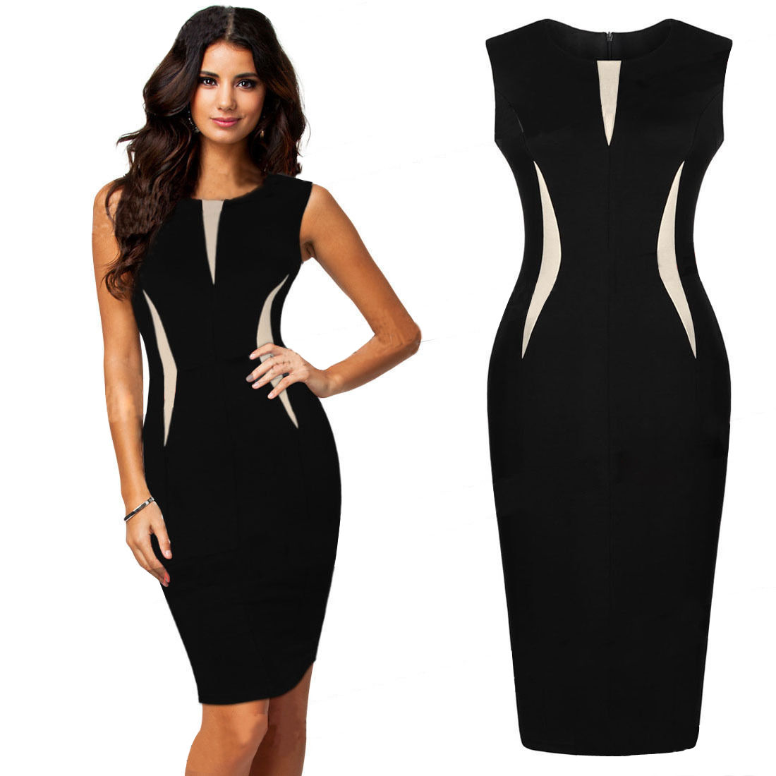 Fashion Women Sleeveless Slim Bodycon Prom Party Cocktail Evening Pencil Dress