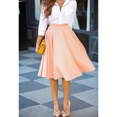 Fashion Women A-Line Pleated Polyester Midi Skirts Office Ladies ...