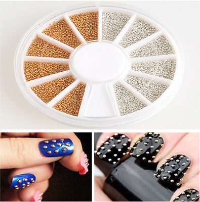 Bulk 1200pcs Gold & Silver Nail Art 3D Design Decoration Stickers Metallic Studs