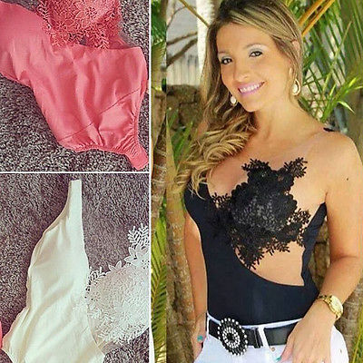 Womens Sexy Bodysuit Crochet Mesh Sheer Lace Sleeveless Bodycon Leotard Teddy