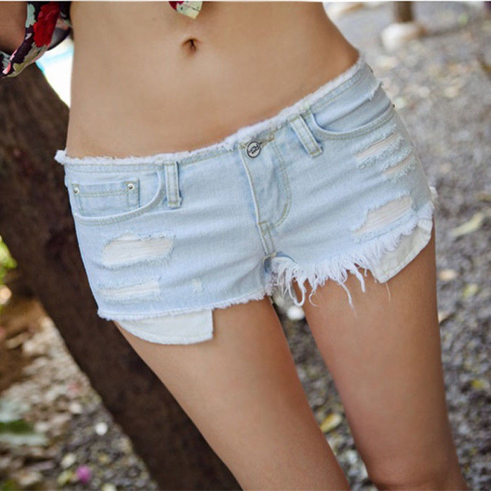 New Sexy Women's Hole Solid Denim Shorts Low Waist Hot Cut-Off Jeans Short Pants