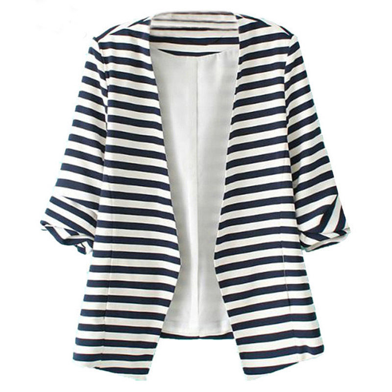 Fashion Women's Striped Black White Business Casual Cotton Summer Blazer Jacket