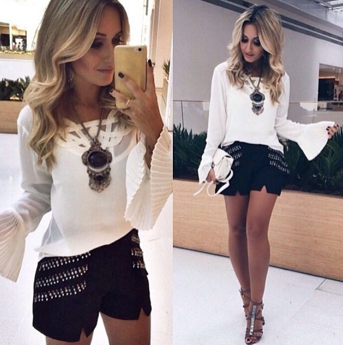 2015 NEW Women Lace Sexy Top Long Sleeve Shirt Summer Casual ...