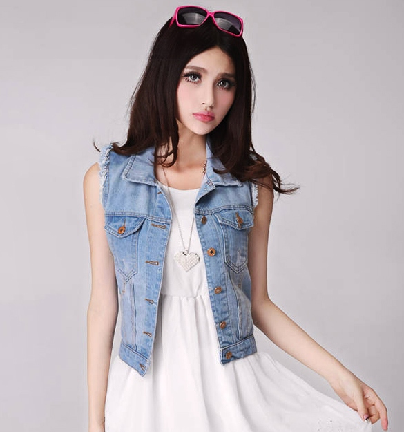 Women's Retro Washed Sleeveless Personalized Cardigan Denim Vest Waistcoat DL