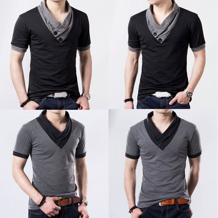 Fashion Men Summer Luxury Casual Button V Neck Slim Fit Muscle Tops Tee T Shirt