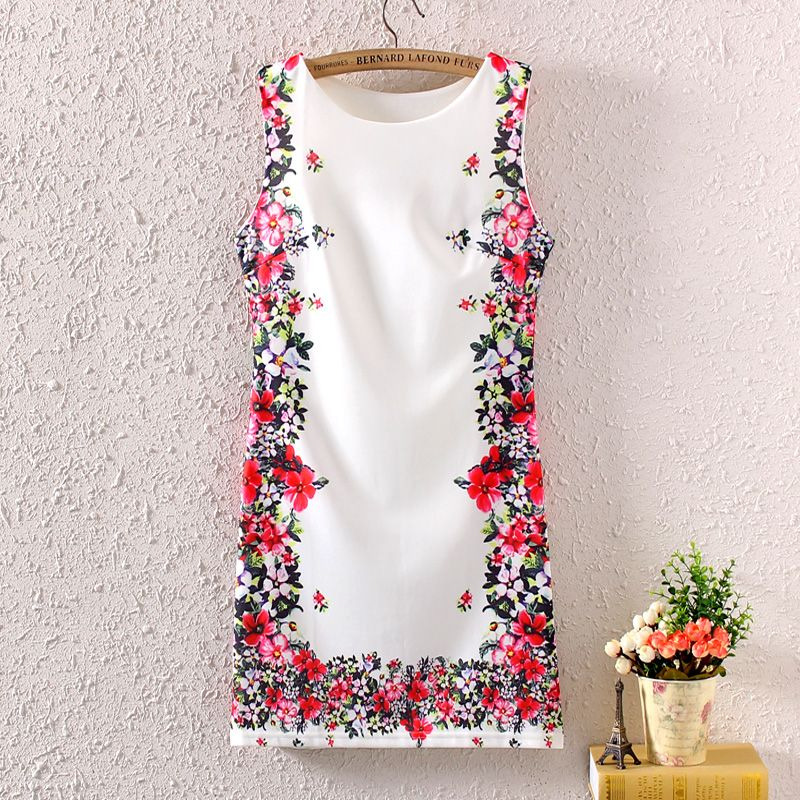 New Summer Vintage Women Sleeveless Floral Graphic Full Printed Short Mini Dress