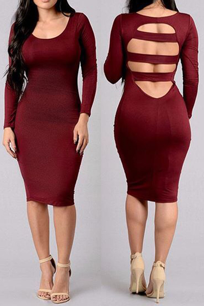 Sexy U Neck Long Sleeve Back Hollow-out Red Spandex Sheath Knee ...