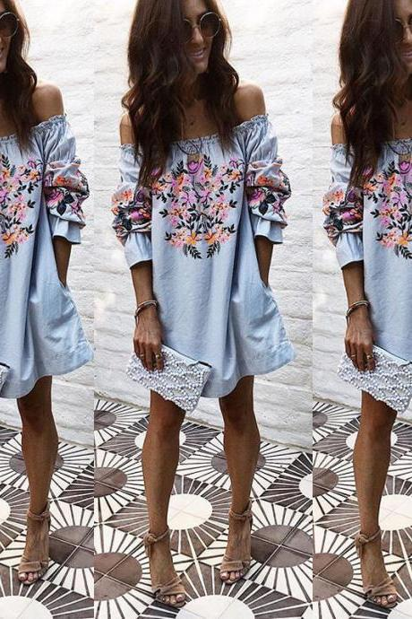 Light Blue Floral Print Ruffled Off-The-Shoulder Long Sleeved Short Shift Dress