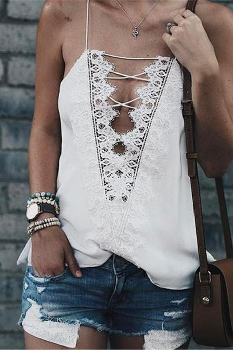 Lace Plunge V Lace-Up Spaghetti Strap Top