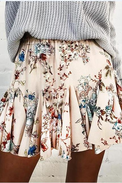 Floral Print Elasticised Mini Ruffled Skirt