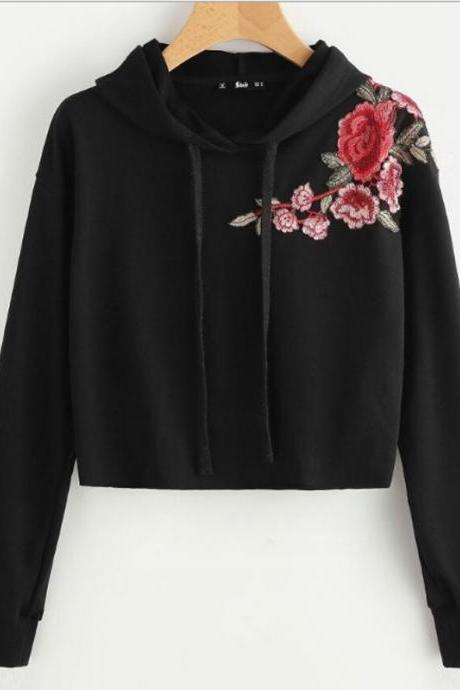 Black Floral Embroidered Long Cuffed Sleeves Cropped Hoodie