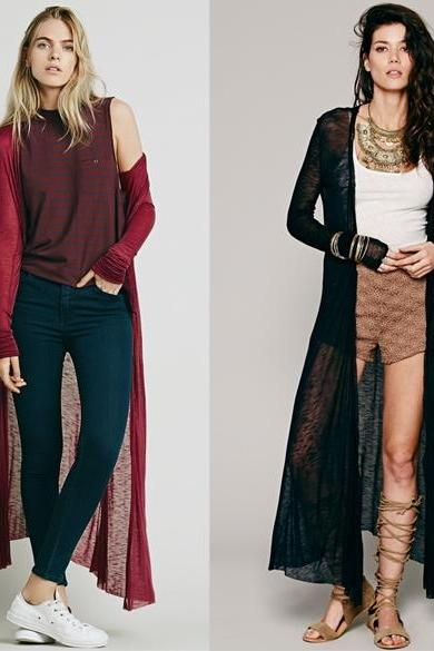 New Lady Fashion Long Sleeve O-Neck Casual Slim Long Cardigan Blouse Coat DL