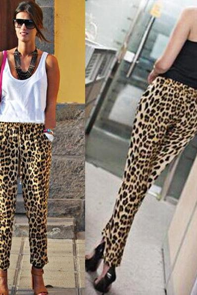 New Fashion Stylish Lady Women's Casual Sexy Fit Leopard Long Harem Pants Lady Pants DL