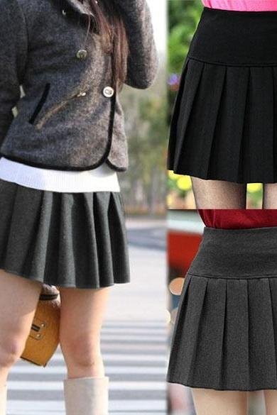 New Korean Women's Elastic High Waist Pleated Mini Skirt DL
