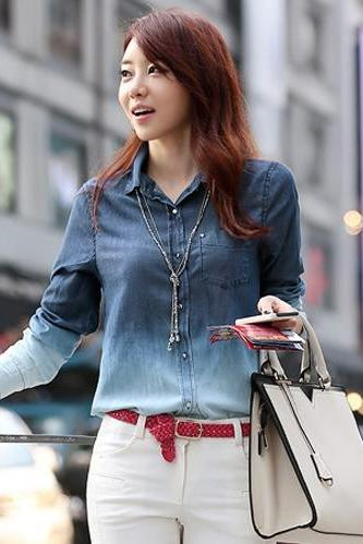 Women's Denim Gradual Blue Jeans Single-breasted Long Sleeve Shirt Blouse DL