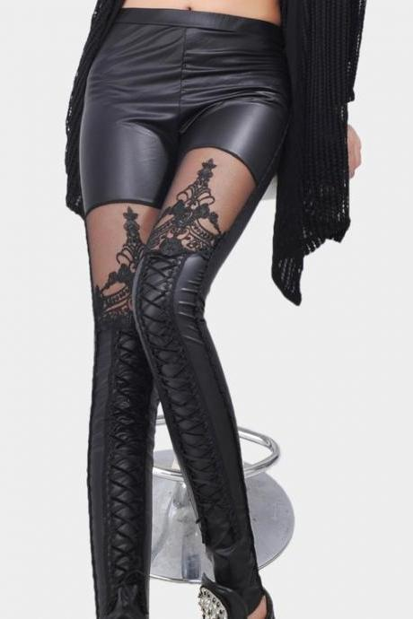Women's Synthetic Leather Stitching Embroidery Bundled Hollow Lace Leggings Pantyhose DL