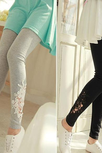 Women Leggings Lace Embroidered Skinny Leggings Tights Pencil Pants Printing DL
