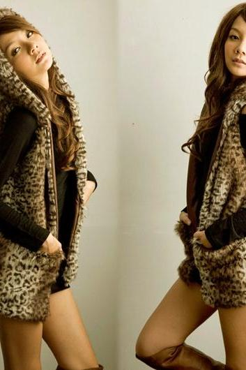 Women's Leopard Coats Sleeveless Vest Outerwear DL