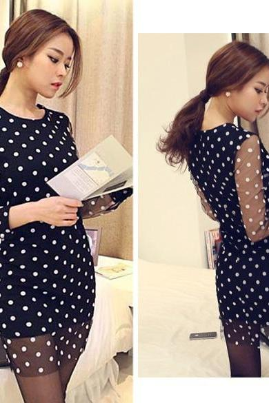 Black Polka Dot Mesh Short Casual Dress, Party Dress