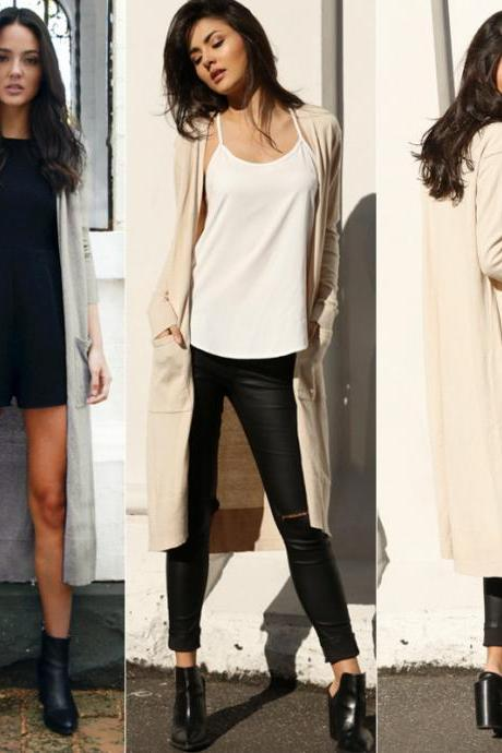 Women Long Sleeve Winter Cardigan Loose Sweater Outwear Jacket Coat Outwear