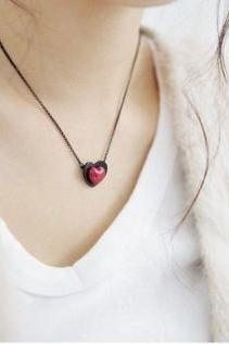 Fashion Women Red Little Love Heart Shape Pendant Necklace Gift New