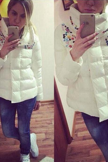 Women Winter Warm Padded Down Jacket Coat Stand Collar Outerwear Overcoat Parka