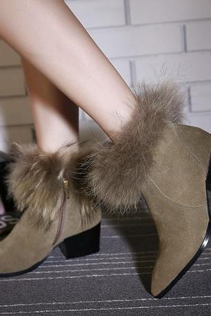Winter Fashion Pointed Toe Fur Embellished Chunky High Heel Grey PU Ankle Martens Boots