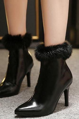 Winter Fashion Pointed Toe Fur Decorated Stiletto Super High Heel Black PU Ankle Martens Boots