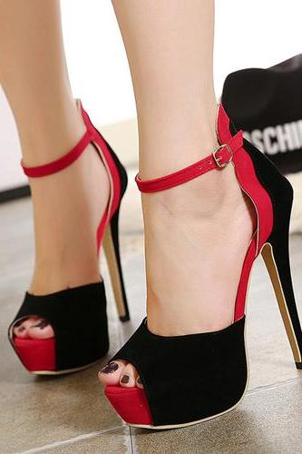 Fashion Peep Toe Patchwork Stiletto Super High Heel Red PU Ankle Strap Sandals