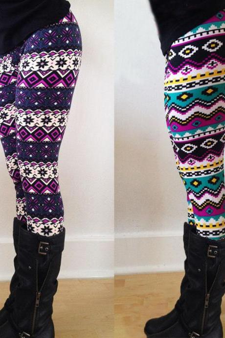 NEW Women Stretchy Print Leggings Casual Skinny Leggings Slim Pencil Pants