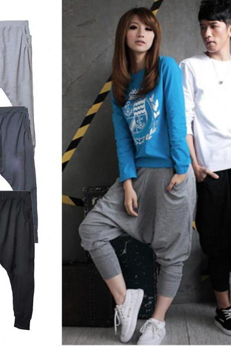 Women Men's Baggy Harem Hip-Hop Dance Sport Sweat Pants Loose Casual Trousers