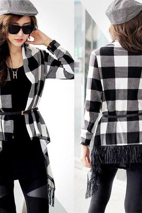 Long Sleeve Plaid / Gingham Loose Cardigan with Fringes