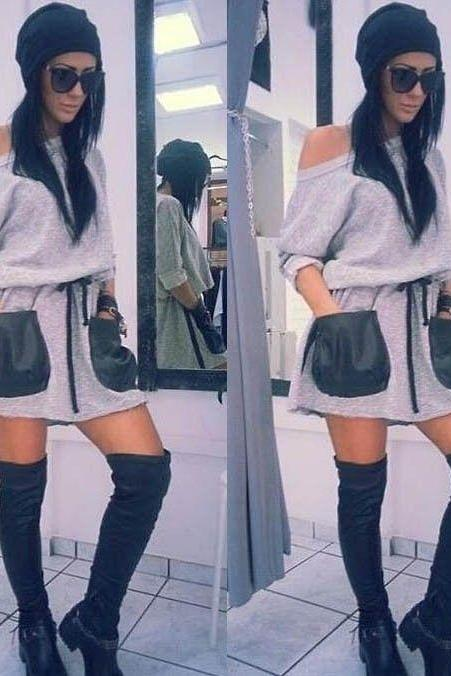 Women Casual PU Pockets Sweatshirt Long Sleeve Loose Hoodies Jumper Mini Dress