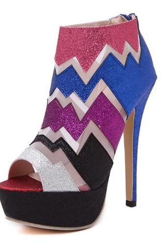 Celebrity Fashion Round Peep Toe Patchwork Stiletto Super High Heel PU Basic Pumps